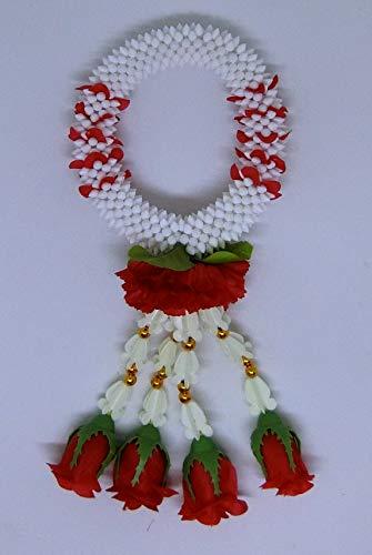 "FUSAP Thai Rose Jasmine Garland Fabric Flowers-Souvenir Plastic Flower Rose Handmade Dia 4"""