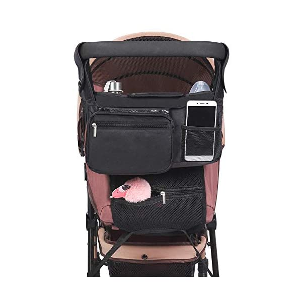 Bakhais Baby Stroller Organizer with Cup Holders – Secured Fit – Baby Wipes Pocket – Extra Storage – Waterproof -– Baby Shower Gift – Universal Stroller Organizer For Moms – Dads