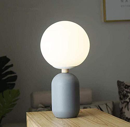 RRB Lámpara de escritorio Moderna Pantalla de bola redonda de vidrio simple Pintado Hierro forjado Gris Lámpara de mesa pequeña Negro A