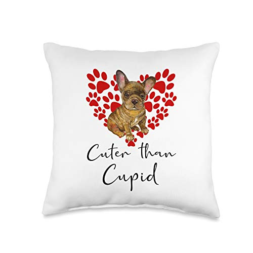 FRENCH BULLDOG Funny Dog Owner Gifts FRENCH BULLDOG Dog Cuter Than Cupid FRENCHIE Valentines Day Throw Pillow, 16x16, Multicolor
