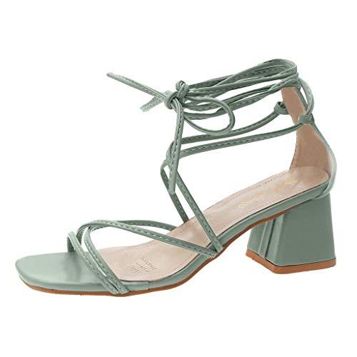 DressLksnf Sandalias de Tacón Alto para Mujer Moda de Talón Grueso Tacones Altos Correas Cruzadas Zapatillas de Fiesta y Boda Punta Abierta de Cabeza Cuadrada Sandalias Pop Sandalias de Playa