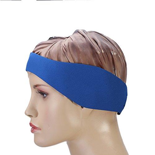 Tbest Schwimmen Stirnband Kinder Erwachsene Verstellbares Schwimmen Kopfband Ohrenband Neopren elastisches Haarband Baden zum Schwimmen - Halten Sie Ihre Ohren trocken(L-Blau)
