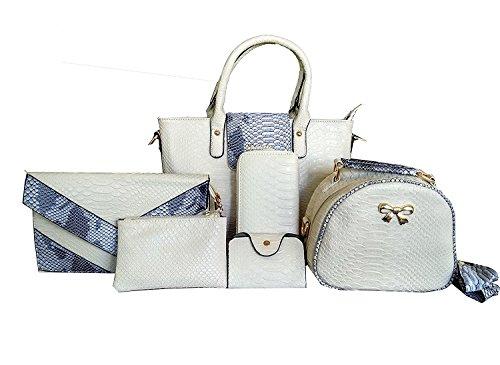 Di Grazia Women's 6 in 1 Combo Handbag(White, White-Croc-6in1-Handbag)