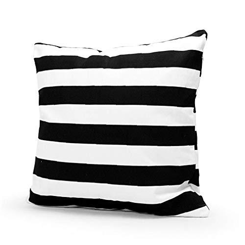 fedsjuihyg Cojines Cubierta Blanco y Negro Rayas Almohada Moderna de Lino Protector del Amortiguador del Coche la Funda de Almohada del sofá del Dormitorio de la decoración 45 * 45cm