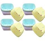LYYDAN 20 Stück Cupcake-Formen, Wiederverwendbare Quadrat Silikon Muffinform Backformen Fünf Farben Umweltschonend Muffinförmchen Cupcake