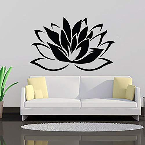 YuanMinglu Lotus Wall Art Applique Ablösbarer Wandaufkleber Yoga Logo Schlafzimmeraufkleber Yoga Art Design Wandbild AY541 Schwarz 92x57cm