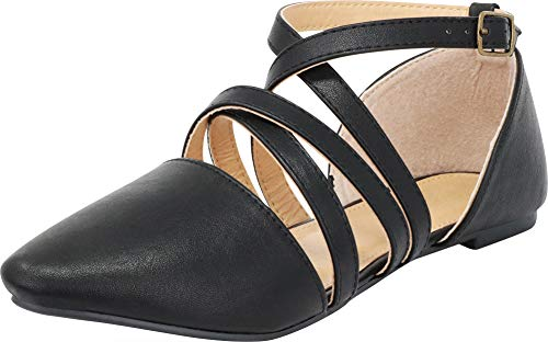 Cambridge Select Women's Pointed Toe D'Orsay Crisscross Strappy Ballet Flat,7.5 B(M) US,Black PU