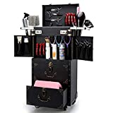 ASCASE Rolling Verrouillable Maquillage Valise Trolley Vanity Train Chariot Coiffure...