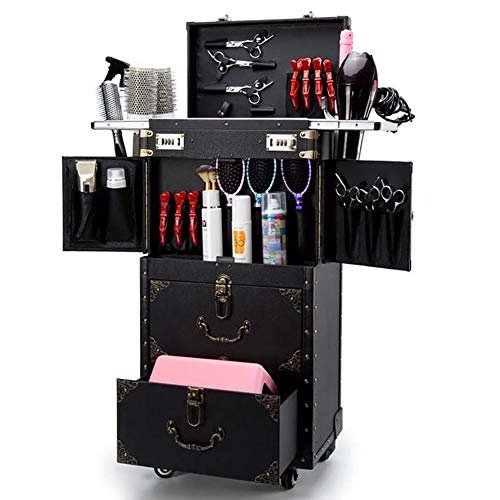 ASCASE Rolling Lockable Makeup Train Case Hairdressing Trolley Stylist Beauty Salon Cosmetic Luggage Travel Organizer Tool Box with Hair Dryer Holder