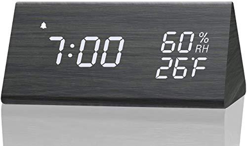 ZONJIE 2021 Sveglia Digitale, Sveglia da Viaggio con Ricarica USB, Batteria da 2000 mAh, Controllo vocale, Data, Temperatura, umidità, 12/24 H, Adatto per Ufficio Camera da Letto Viaggio (Nero)