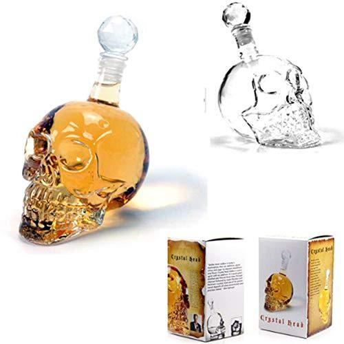 Tuipong Decantador para vino de cristal con calavera, 350/500/1000 ml, con tapón para botella de vino Whisky para casa/bar/fiesta