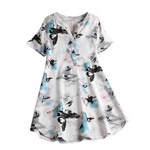 MRULIC Women's Long-Sleeved Shirt and Short Sleeve Top Sweatshirt Top Cotton and Linen Fabric S-5XL - White - 12