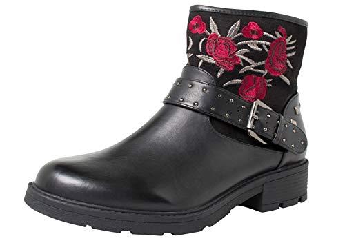 Fitters Footwear That Fits Damas Bota de Tobillo Tara PU Bota de Motociclista Bordada con Flores (42 EU, Negro) (Ropa)