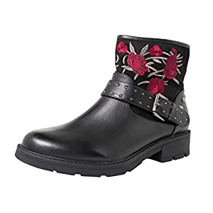 Fitters Footwear That Fits Damas Bota de Tobillo Tara PU Bota de Motociclista Bordada con Flores (EU,) | DeHippies.com