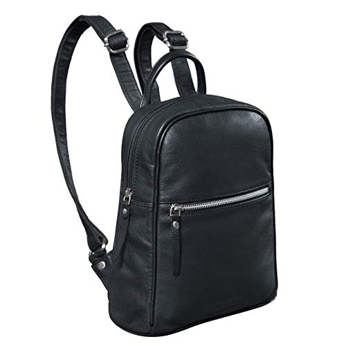STILORD 'Scarlett' Rucksack Damen Klein Leder Rucksackhandtasche Lederrucksack für iPad & 10.1 Zoll Tablet Handtasche City Ausgehen Shopping Daypack, Farbe:schwarz