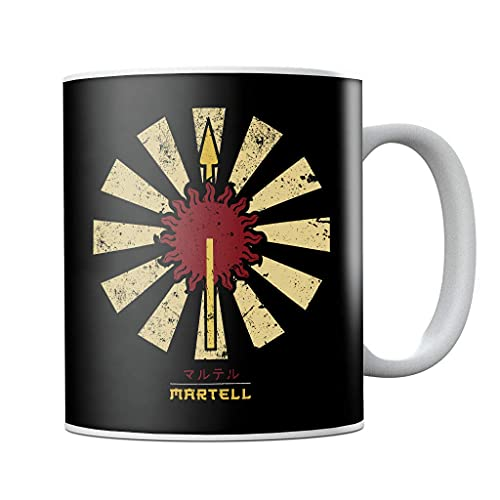 Martell Sigil Retro Japonés Juego de Tronos Taza de café de cerámica, taza de té, regalo de cumpleaños
