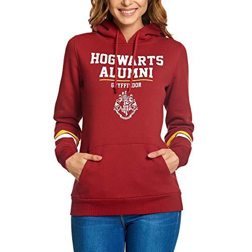 Elbenwald Harry Potter Hoodie Hogwarts Alumni Gryffindor Frontprint mit Kapuze für Damen rot - M