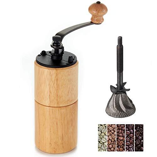 Akirakoki Manuelle Kaffeemühle Holz Kaffeemühle mit Gusseisen Grat, Große Kapazität Holz Handkurbel, Tragbar Verstellbar (Helles Holz)