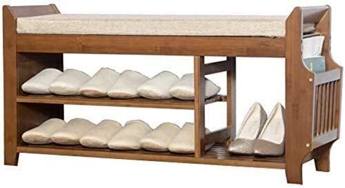 QZMX Estante de Zapatos Zapatero de 3 Niveles de Brown-Premium Zapatero Zapato de Madera de época Organizador, Banco de Almacenamiento en Rack con Suave cojín de Asiento for la Entrada Estante