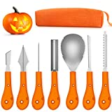 Greatever Halloween Pumpkin Carving Kit,Professional and Heavy Duty Stainless Steel Tools,Pumpkin Carving Set with Carrying Case(7pcs)