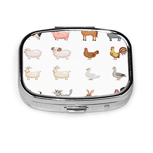 Colorful Goat Cute Farm Animals in Flat Cartoon Dog Pill Box Decorative Boxes Pill Case Tablet Holder Wallet Organizer Case for Pocket Or Purse
