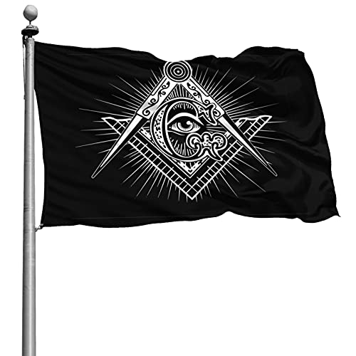 Zovxk Freemason Flag 4x6ft Outdoor 100% Printed Polyester Single Side Stitched Fade-Proof in Vibrant Colors Polyester Durable Outdoors Flag