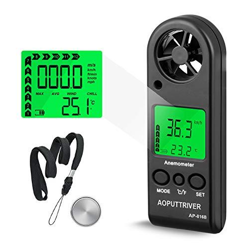 Windmesser Hand Digital LCD Wind Speed Meter Guages Air Flow Geschwindigkeit mit Hintergrundbeleuchtung messung Thermometer für Windsurfen Segeln Angeln etc