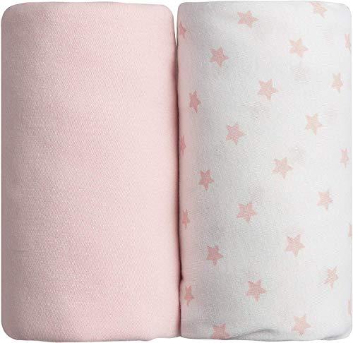 Lot de 2 draps housse roses uni + étoilé Babycalin - 60 x 120 cm