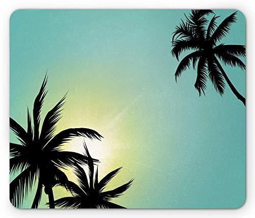Alfombrilla de ratón moderna, palmeras de la isla hawaiana de miami beach con imagen de impresión artística de cielo despejado como el sol, alfombrilla de ratón rectangular de goma antideslizante, tam