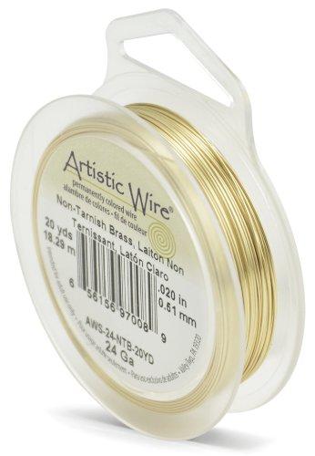 Beadalon Artistic, 24 Gauge, Tarnish Resistant, 20 yd (18.3 m) Craft Wire, NT Brass