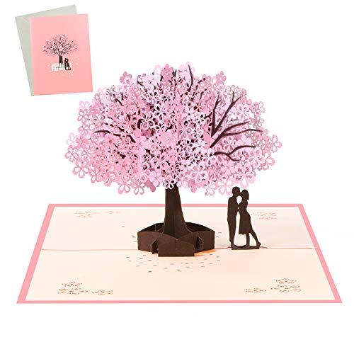 Vicloon 3D Karte, Rosa Kirschblüte Pop Up 3D Karte Grußkarte mit Weiß Umschlag, Hochzeitskarten, Valentinstag Karte für Hochzeitstag, Hochzeitsgeschenk, Geburtstag, Hochzeitseinladung