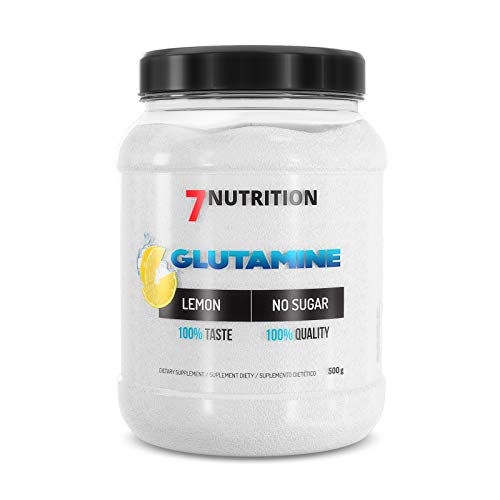 7Nutrition Glutamine 500g Powder Lemon Flavour with Taurine | 100 Servings | Amino Acid | 3 Months Supply