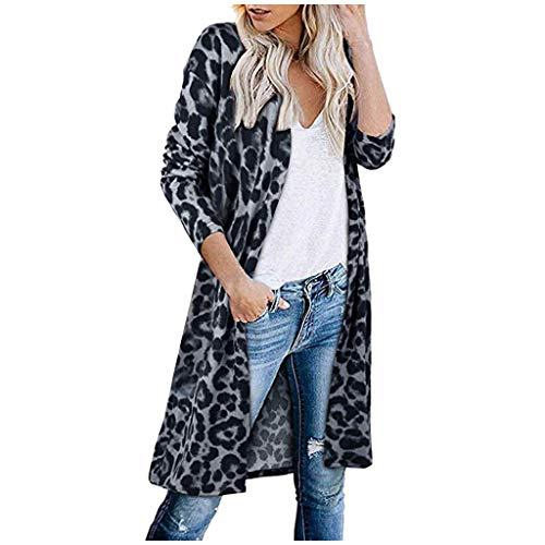 iHENGH Damen Herbst Winter Bequem Mantel Lässig Mode Jacke Frauen Langarm Leopardenmuster Tasche Mode Mantel Bluse T-Shirt Strickjacke Top(Kaffee, L)