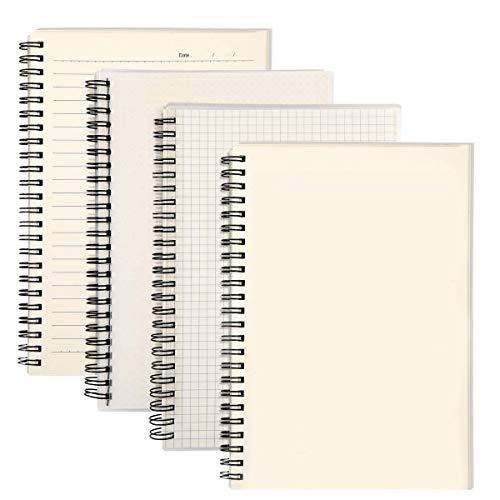 Bloc de Notas Espiral A5, AGPTEK 4 Pcs Cuaderno de Cuentas Mano Diario Escrito Bloc de Dibujo, Cada Notebook de Cubierta Kraft 160 Páginas