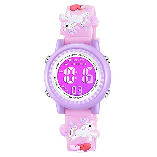 Venhoo Kids Watches 3D Cartoon Waterproof 7 Color Lights Toddler Wrist Digital Watch with Alarm Stopwatch for 3-10 Year Girls Little Child-Pink Unicorn