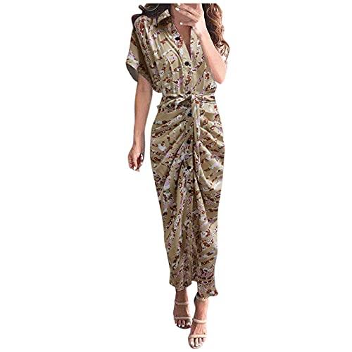 Dasongff Robe Longue Femme Boheme à Manches Courtes Été Tunique Col V Vintage Chic Elegante Imprimé Florale Maxi Robe avec Fente pour Cocktail Soirée Ceremonie Plage Vacances Mariage Split Dress