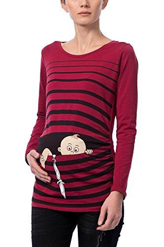 Baby Flucht - Lustige witzige süße Umstandsmode/Umstandsshirt mit Motiv für die Schwangerschaft/Schwangerschaftsshirt, Langarm (Weinrot, M)