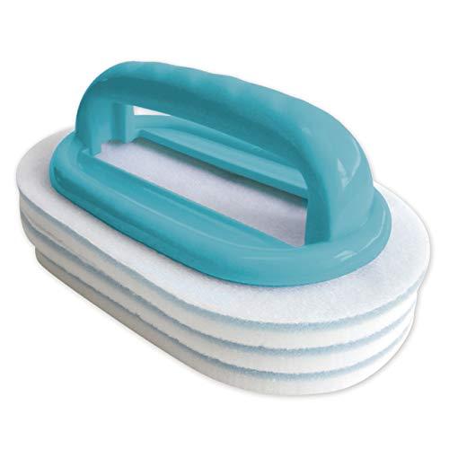 BAYROL 411009 - Cepillo de Mano con Mango y un Total de 3 Almohadillas de Limpieza para una Limpieza fácil y Profunda de la Piscina, Accesorios para el Cuidado de la Piscina, Color Turquesa