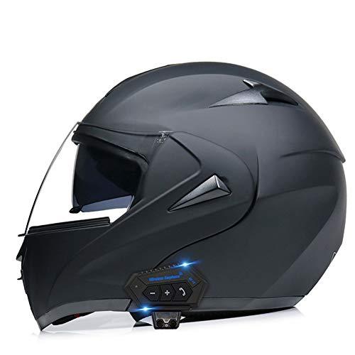 OPRG Klapphelm Motorradhelm Bluetooth Integralhelm Mit Doppelvisier Roller Damen Und Herren ECE Genehmigt Schwarz,D,XS(53~54CM)