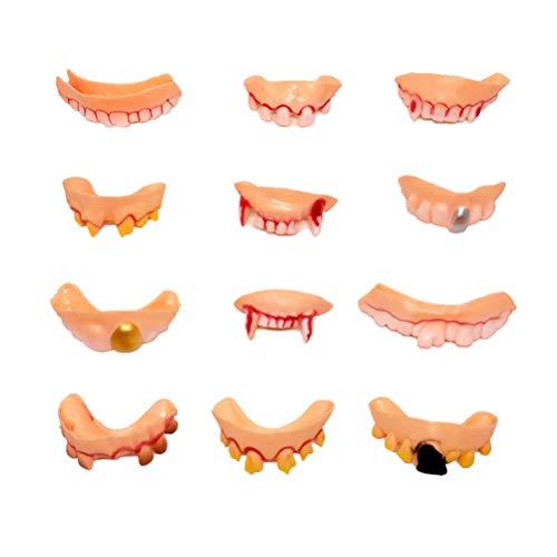 TOYANDONA 24 Piezas de decoración de Halloween Dientes feos Dientes Falsos Colmillos dentadura Prop de Halloween Suministros para Fiestas
