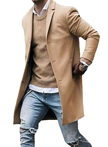 Men Winter Trench Coat Slim Fit Turn Down Collar Knit Cuffs Woolen Coat Business Jacket Overcoat Khaki
