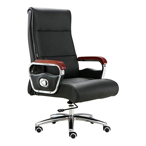 N/Z Daily Equipment Boss Chair Home Computer Chair Reclining Office Chair Leather Massage Seat Study Room Writing Chair Rotating Lift Armchair Black 50cm*52cm*123cm