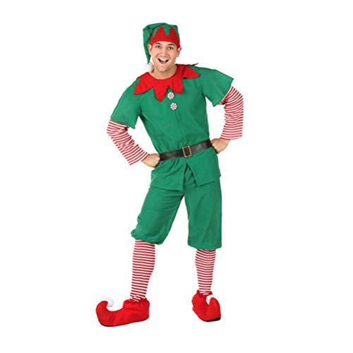 YOUJIAA Disfraz de elfa Rojo y Verde Mamá Papá Niños Conjunto de Cosplay Duende Elfo Traje de Navidad