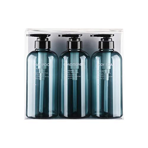 JOYKK 3Pcs Juego de Botellas vacías para champú Gel de Ducha Acondicionador para el Cabello Dispensador de Prensa - Azul