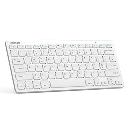 Arteck Ultra-Slim Bluetooth Keyboard Compatible with iPad 10.2-inch/iPad Air/iPad 9.7-inch/iPad Pro/iPad Mini, iPhone and Other Bluetooth Enabled Devices Including iOS, Android, Windows, Silver