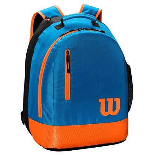 Wilson, Mochila juvenil de tenis, 2 compartimentos con cremallera, Hasta 2 raquetas, Azul/naranja