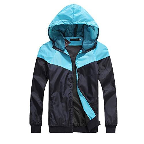 Xmiral Herren Casual Patchwork Langarm Reißverschluss Sweatshirt Hoodie Mantel Top (XL,Blau)