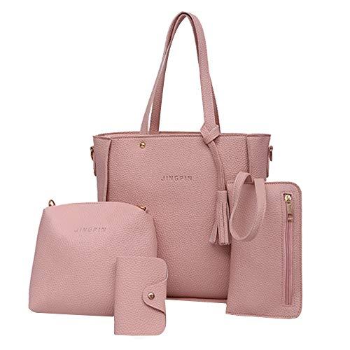 4 pièces costume femme poignée supérieure porte-carte grande capacité dames gland sac à main sac à bandoulière sac à main dames sac de messager en cuir PU (Pink)