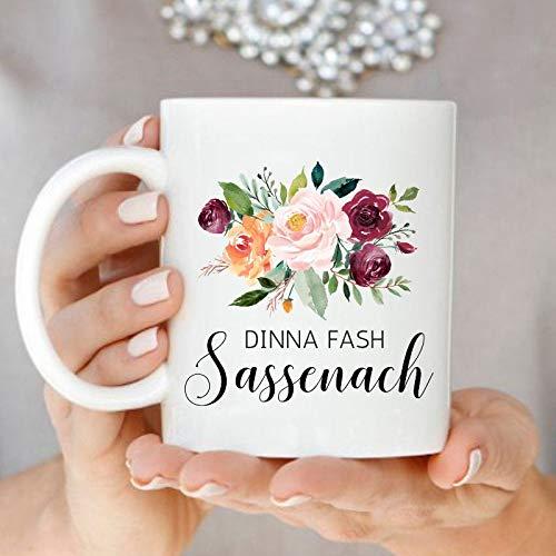 Dinna Fash Sassenach Tazza da tè Outlander Tazze con motivo floreale scozzese Jamie e Claire
