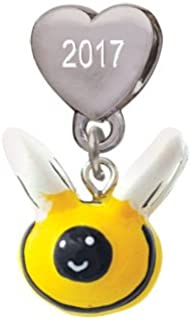 Resin Bumble Bee Custom Year Stainless Steel Heart Bead Charm